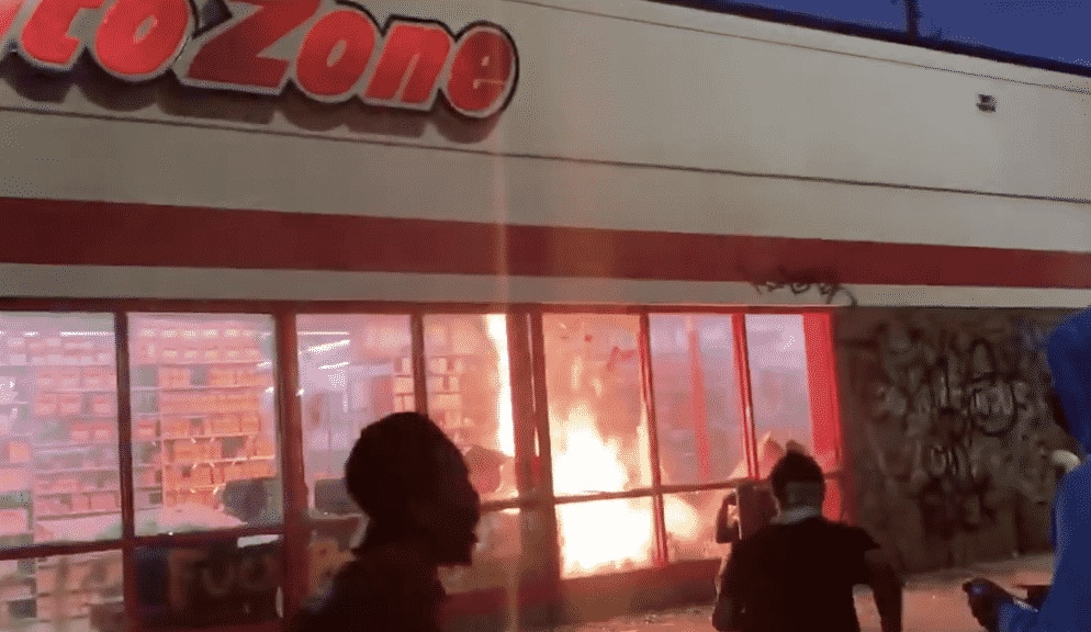 MINNEAPOLIS BURNING: Thugs Set Fire to Auto Zone in Minneapolis